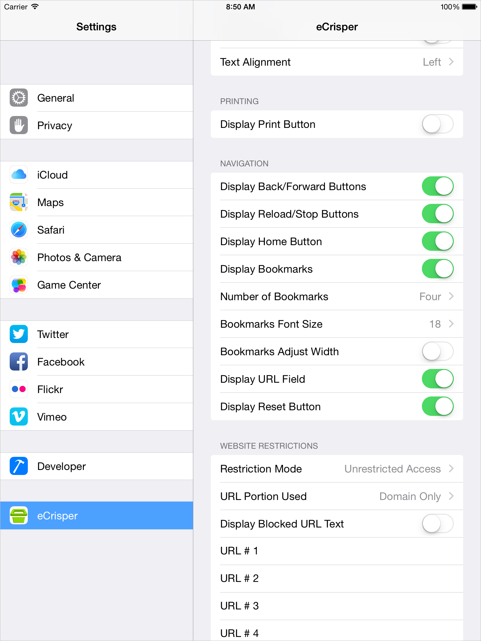 Kiosk Software for iPad - Settings - Screen 2